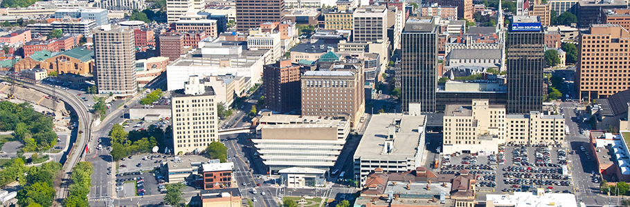 Aerial shot of Downtown Syracuse